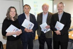 Philippa Bonella (SCIAF), Prof Mike Osborne (Director CR&DALL), Colm Regan (book's editor), Prof John Briggs (Director GCID).  (Picture courtesy of Paul McSherry)